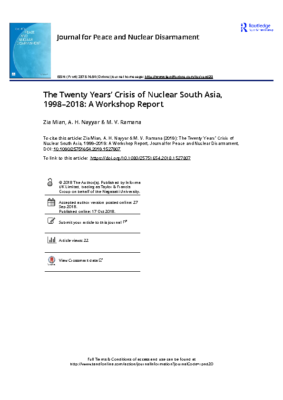 The Twenty Years Crisis of Nuclear South Asia 1998 2018 A Workshop Report