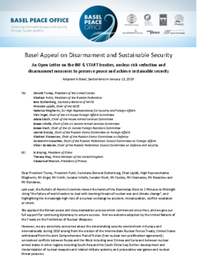 Basel Appeal on Disarmament and Sustainable Security final with list of endorsers as at Jan 25