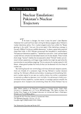 Nuclear Emulation Pakistan Nuclear Trajectory
