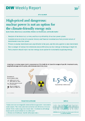 DIW Weekly Report – High-priced and dangerous- nuclear power is not an option for the climate-friendly energy mix